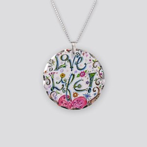 Love Life Necklace Circle Charm