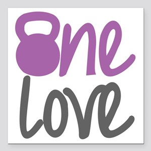 "Purple One Love Kettlebe Square Car Magnet 3"" x 3"""