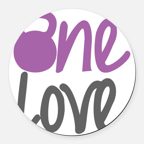 Purple One Love Kettlebell Round Car Magnet