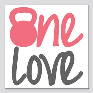 "Pink One Love Kettlebell Square Car Magnet 3"" x 3"""