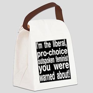 feministprochoiceWHITELETTERS Canvas Lunch Bag