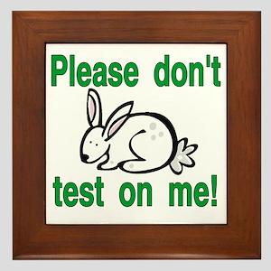 stop animal testing bunny Framed Tile