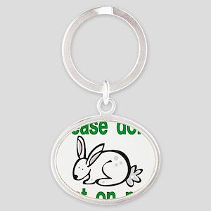 stop animal testing bunny Oval Keychain