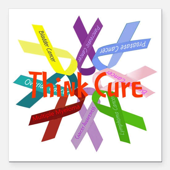 "Think Cure Square Car Magnet 3"" x 3"""