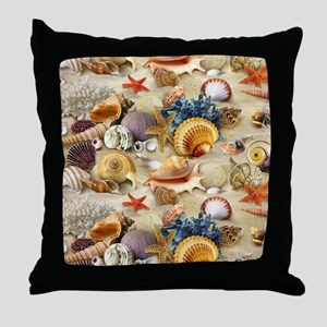 Fancy Seashell Picture Frame Throw Pillow