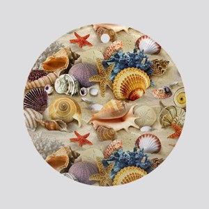Fancy Seashell Picture Frame Round Ornament