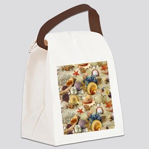 Fancy Seashell Picture Frame Canvas Lunch Bag