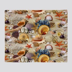 Fancy Seashell Picture Frame Throw Blanket