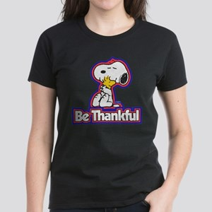 Peanuts Be Thankful Women's Dark T-Shirt