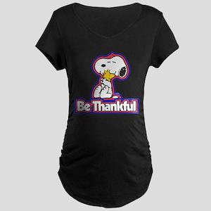 Peanuts Be Thankful Maternity Dark T-Shirt