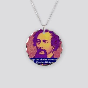 Charles Dickens Necklace Circle Charm