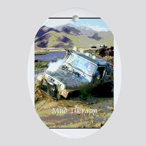 Jeep & Mud Therapy Oval Ornament
