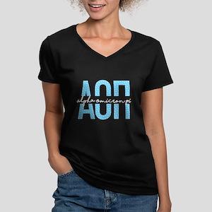 Alpha Omicron Pi Polka Women's V-Neck Dark T-Shirt