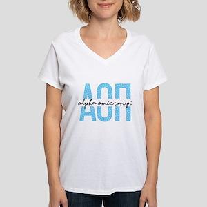 Alpha Omicron Pi Polka Dots Women's V-Neck T-Shirt