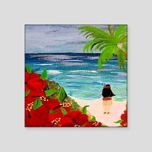 "Hula Girl on the Beach Square Sticker 3"" x 3"""