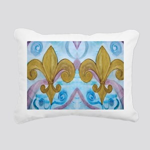 Gold Fleur de lis on blu Rectangular Canvas Pillow