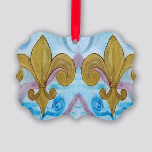Gold Fleur de lis on blue Picture Ornament