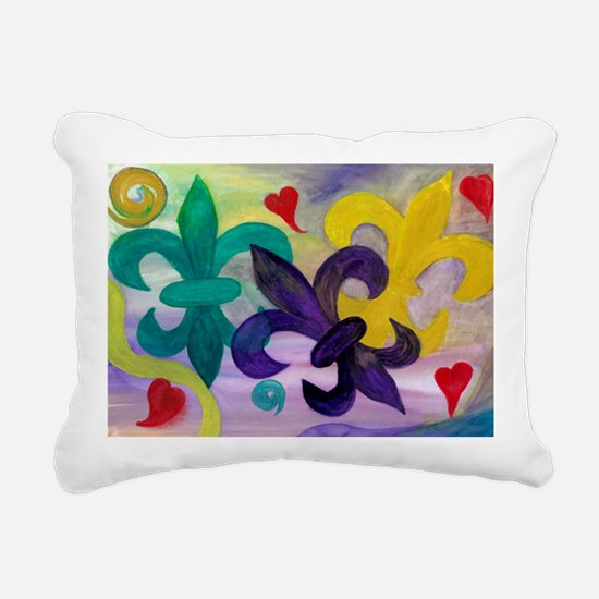 Mardi Gras Fleur de lis Rectangular Canvas Pillow