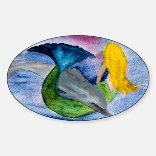Playful Mermaid  Dolphin Sticker (Oval)
