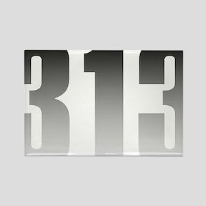 313 Detroit Rectangle Magnet