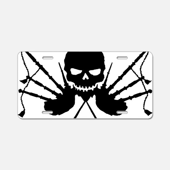 Skull and Pipes Aluminum License Plate