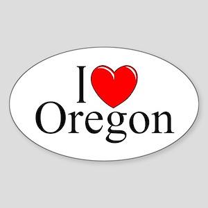 """I Love Oregon"" Oval Sticker"