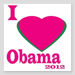 """I Love obama Square Car Magnet 3"""" x 3"""""""