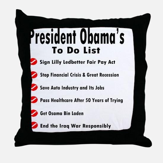 President Obama To Do List Throw Pillow