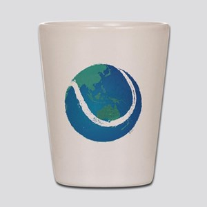 world tennis ball globe Shot Glass