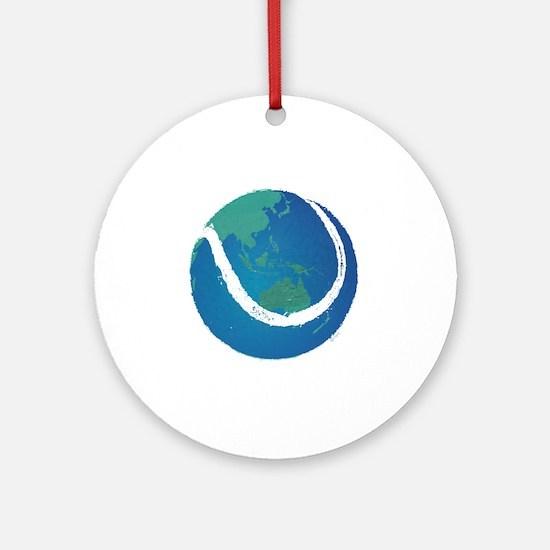 world tennis ball globe Round Ornament