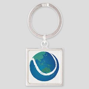 world tennis ball globe Square Keychain