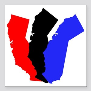 "California W Square Car Magnet 3"" x 3"""