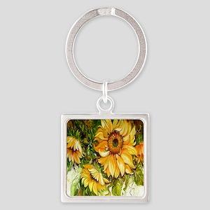 Sunflower Square Keychain