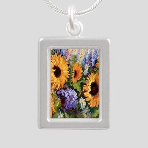 Sunflower Silver Portrait Necklace