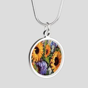 Sunflower Silver Round Necklace