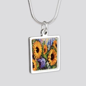Sunflower Silver Square Necklace
