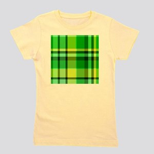 Green and Yellow Plaid Girl's Tee