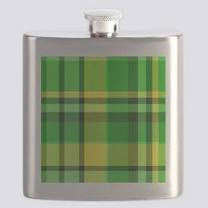 Green and Yellow Plaid Flask