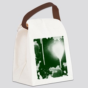 Ink and Paint, White on Green, Canvas Lunch Bag