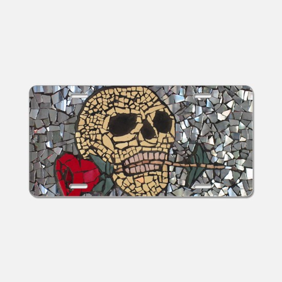 Mosaic Skull and Rose Aluminum License Plate
