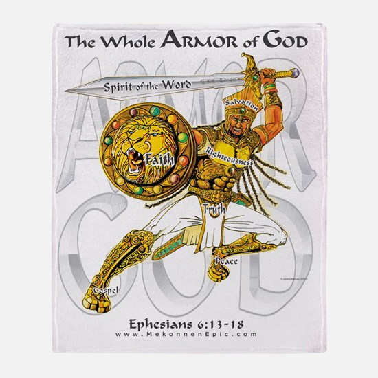 Whole Armor of God--Silver Throw Blanket