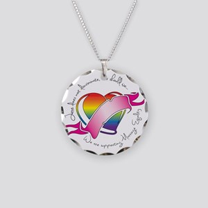 Support Heart Necklace Circle Charm