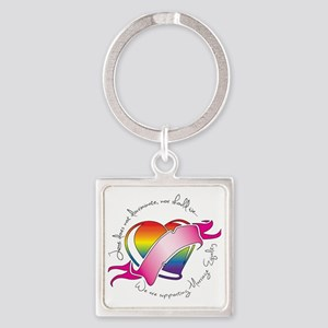 Support Heart Square Keychain