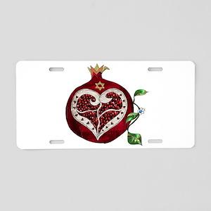 Judaica Pomegranate Heart Aluminum License Plate
