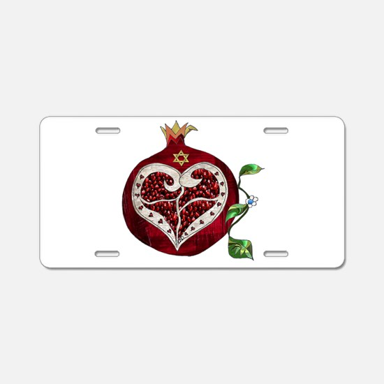 Judaica Pomegranate Heart Aluminum License Plate