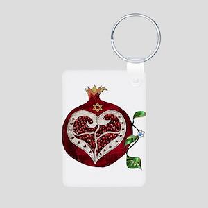 Judaica Pomegranate Heart Keychains