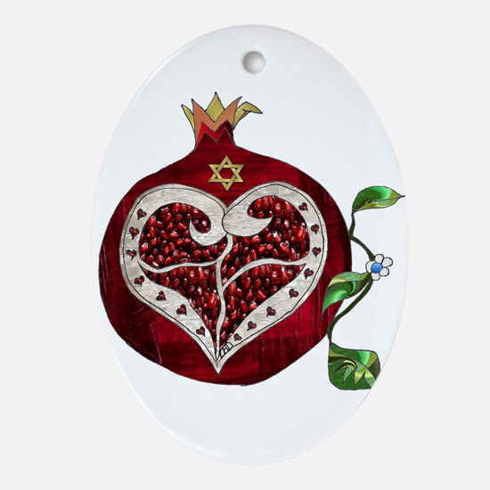 Judaica Pomegranate Heart Ornament (Oval)
