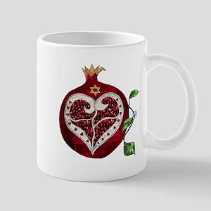 Judaica Pomegranate Heart Mugs