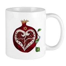 Judaica Pomegranate Heart Mugs
