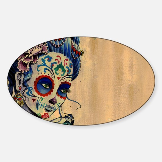 Marie de los Muertos Laptop Cover Sticker (Oval)